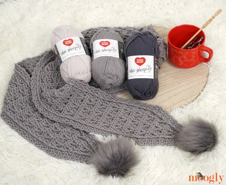 Final Frost Scarf with Red Heart Chic Sheep by Marly Bird yarn