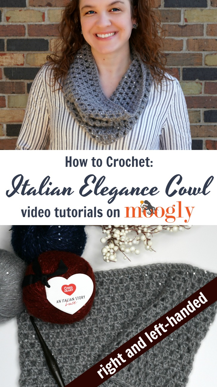 Italian Elegance Cowl - right and left-handed video tutorials on Moogly