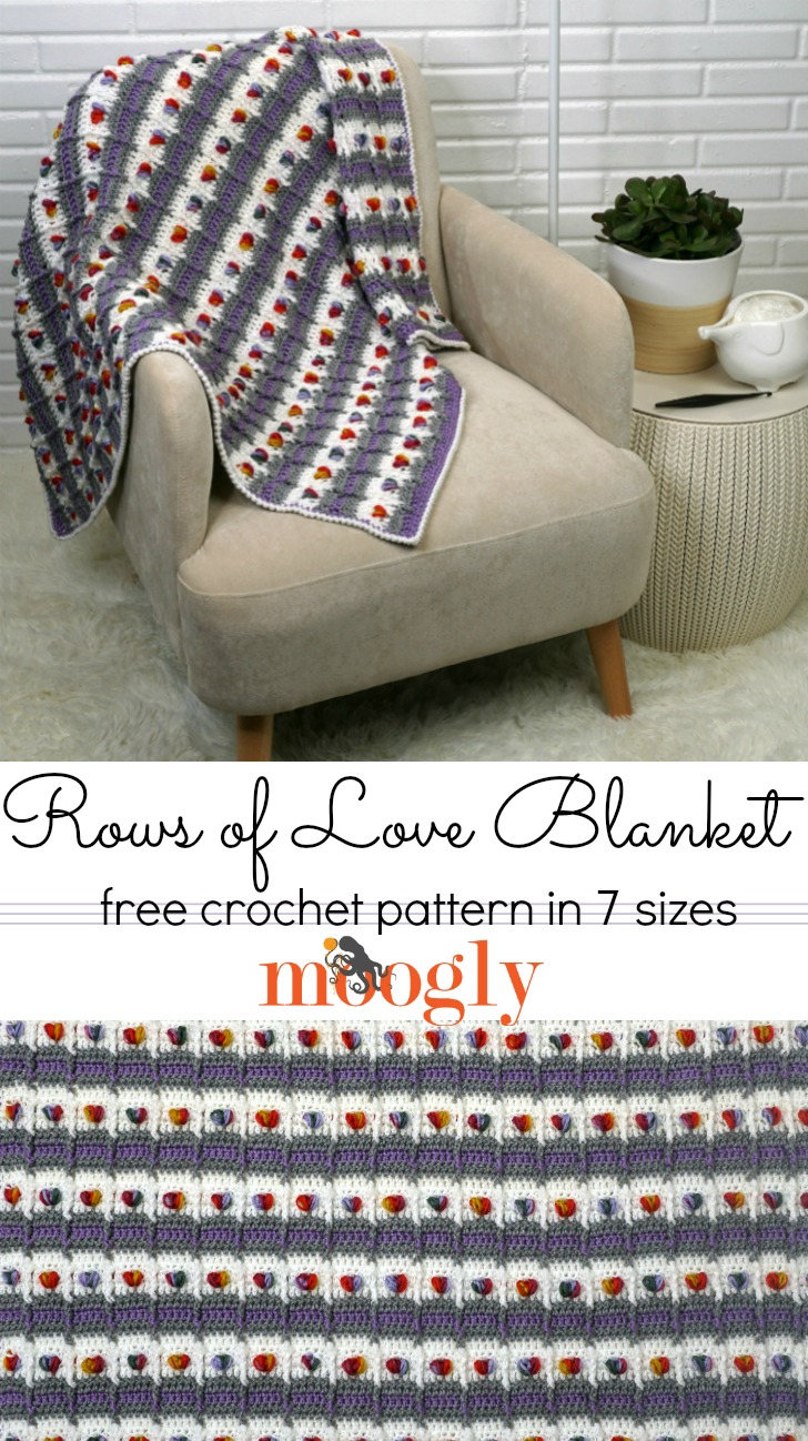 Rows of Love Blanket - free pattern on Mooglyblog!