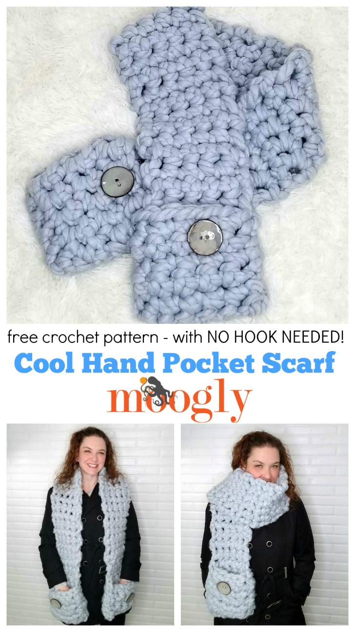 Cool Hand Pocket Scarf Free Crochet Pattern On Moogly