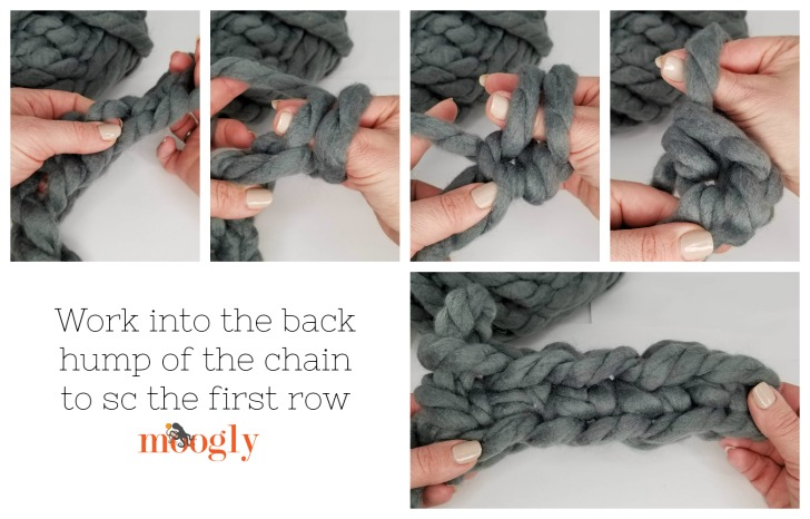 Crochet the first row of the Cool Hand Crochet Pocket Scarf