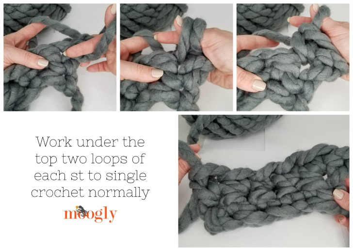 How to crochet Row 2 for the Cool Hand Crochet Pocket Scarf
