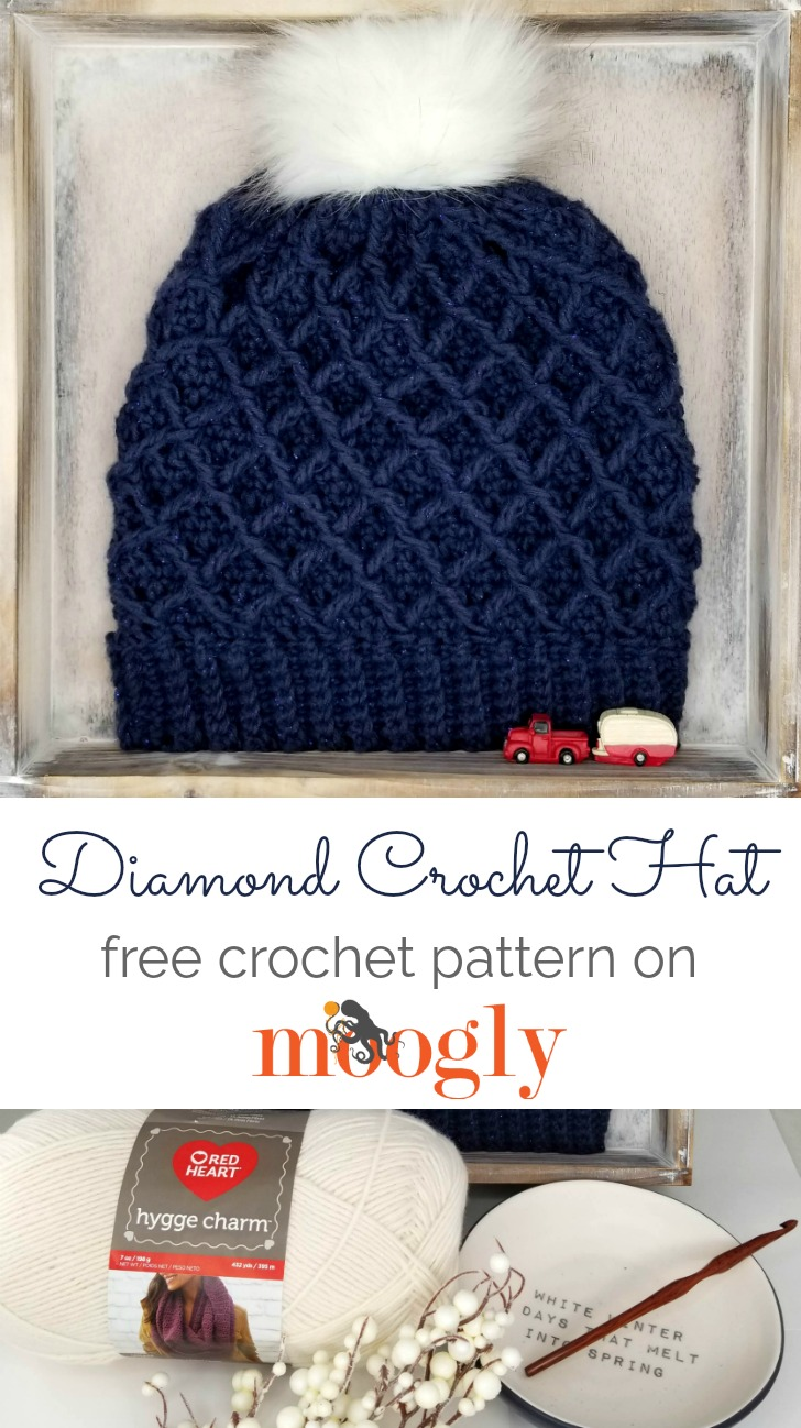 Diamond Crochet Hat - free crochet pattern on Mooglyblog.com made with Red Heart Hygge Charm
