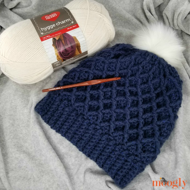 Make the Diamond Crochet Hat with Red Heart Hygge Charm!