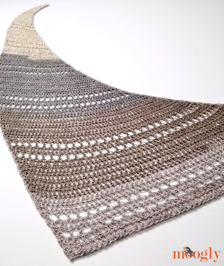 Pixie Shawlette - flat, large, angled view