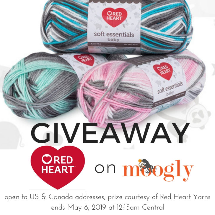 Red Heart Soft Essentials Baby - Giveaway on Moogly! Open to US and Canada (excluding Quebec), ends 5/6/2019 at 12:15am US Central Time
