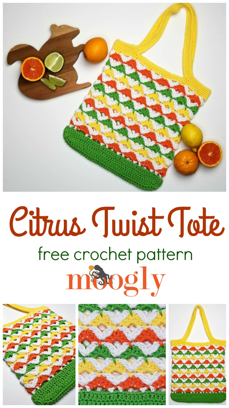 Citrus Twist Tote - get the free crochet pattern on Mooglyblog.com!