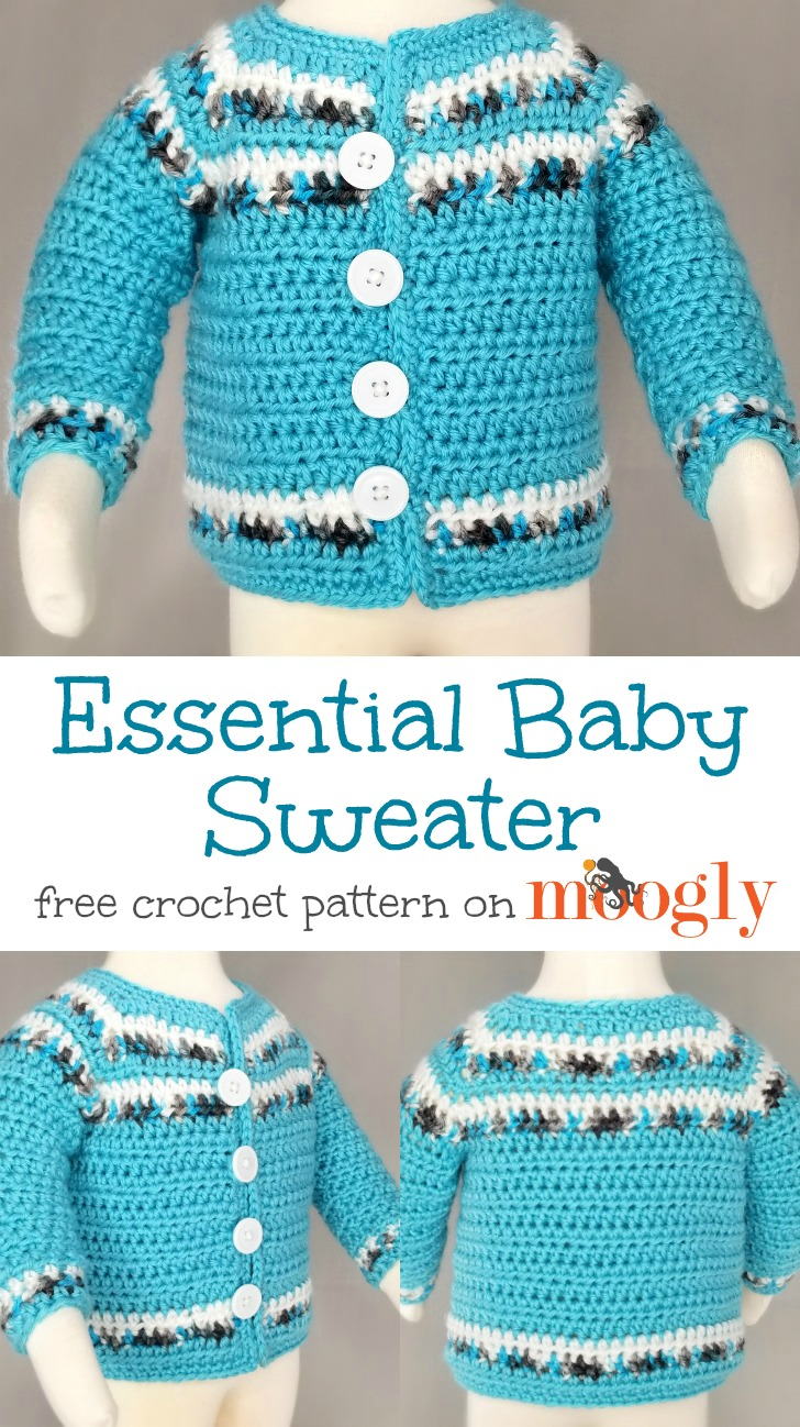 Essential Baby Sweater - free crochet pattern on Moogly!