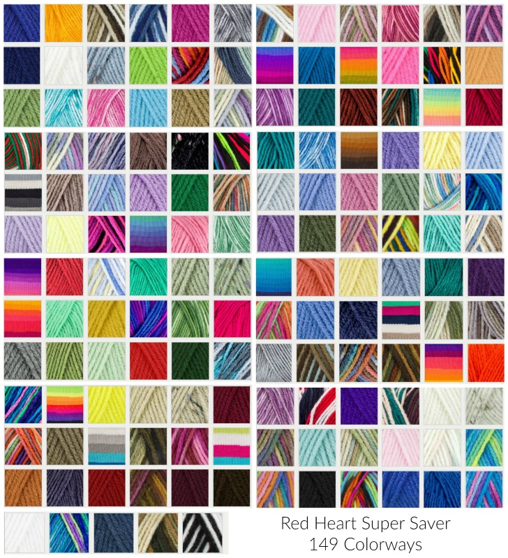 149 colors of Red Heart Super Saver