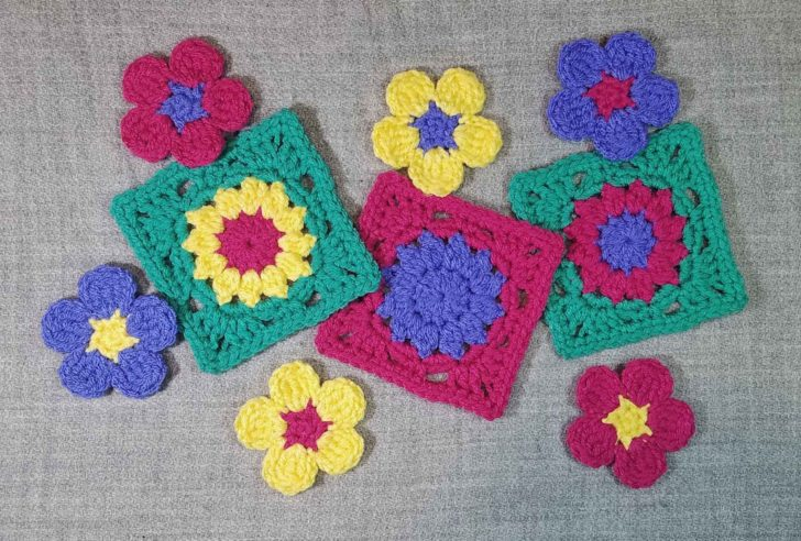 Crocheted Squares and Flowers - Andee Graves M2H Designs