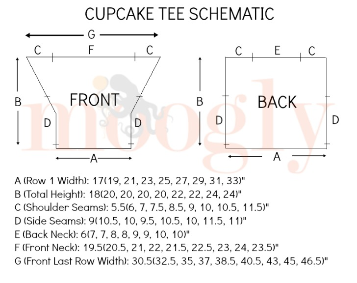 Cupcake Tee Schematic - get the free pattern on Moogly!