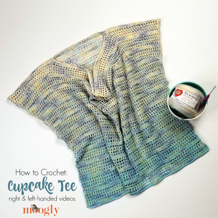 Cupcake Tee Tutorial - right and left-handed videos on Mooglyblog.com to go with the free crochet pattern in sizes XS - 5X!