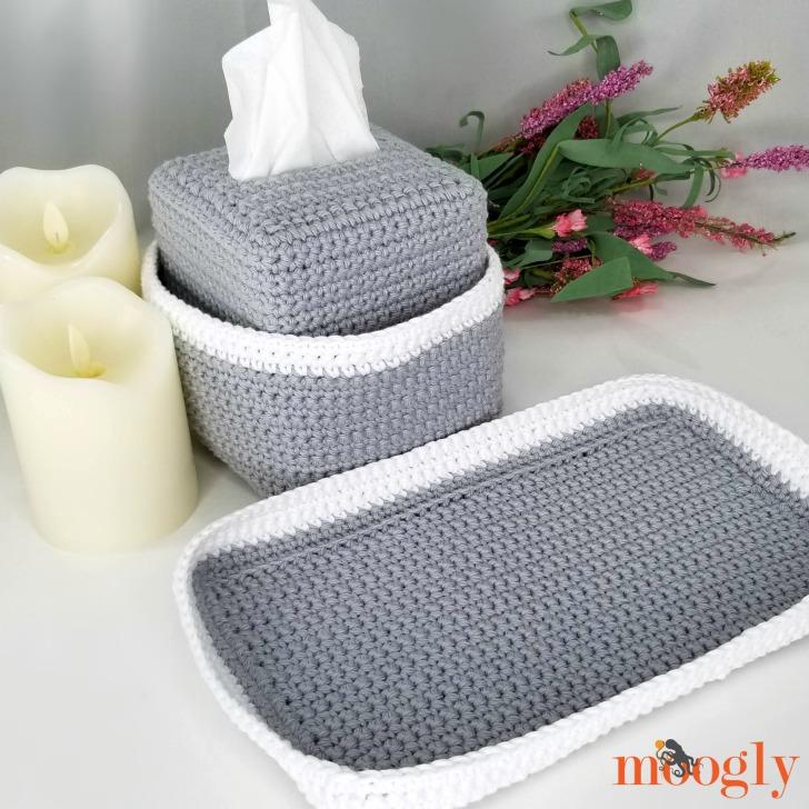 Pampering Vanity Set: Crochet Tissue Box Organizer and Tray
