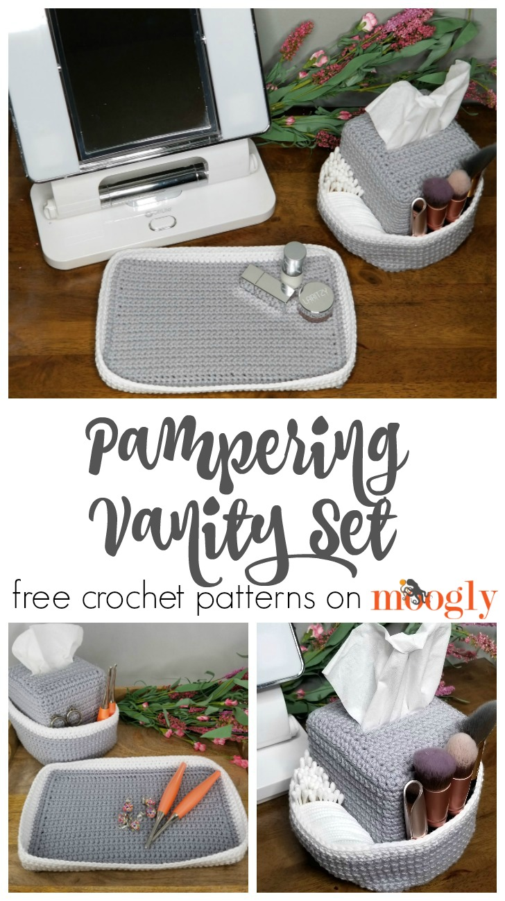 Pampering Vanity Set: Crochet Tissue Box Organizer and Tray - get this free pattern set on Mooglyblog.com!