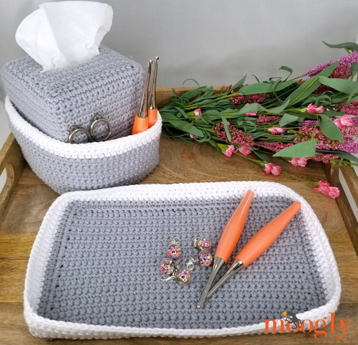 Pampering Vanity Set: Crochet Tissue Box Organizer and Tray - not just for vanities, keep your craft organized and handy too!