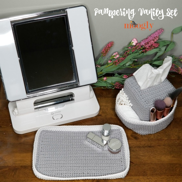 Pampering Vanity Set: Crochet Tissue Box Organizer and Tray - free patterns on Moogly