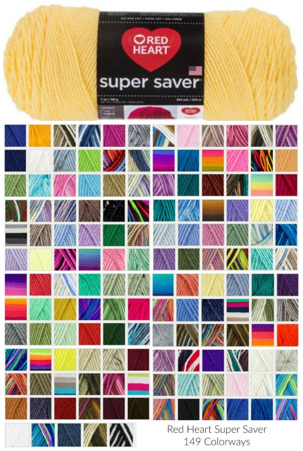Red Heart Super Saver comes in 149 colors - this graphic shows them all in one place!