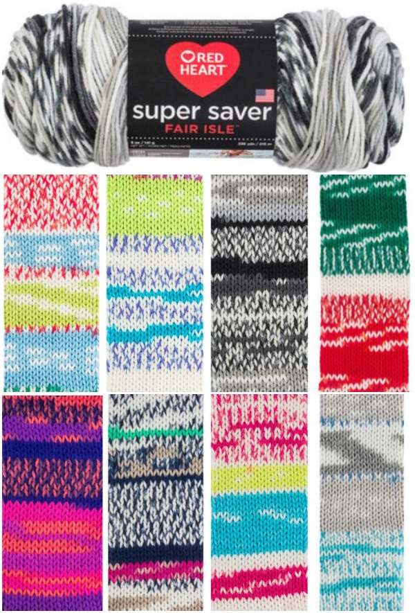 Red Heart Super Saver Fair Isle Colorways