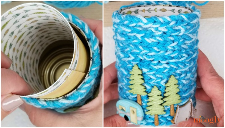Finger Chain Can Cozy - add the paper and enjoy!