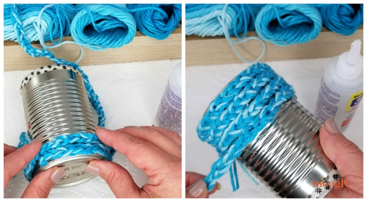 Finger Chain Can Cozy - continue gluing on the finger chains