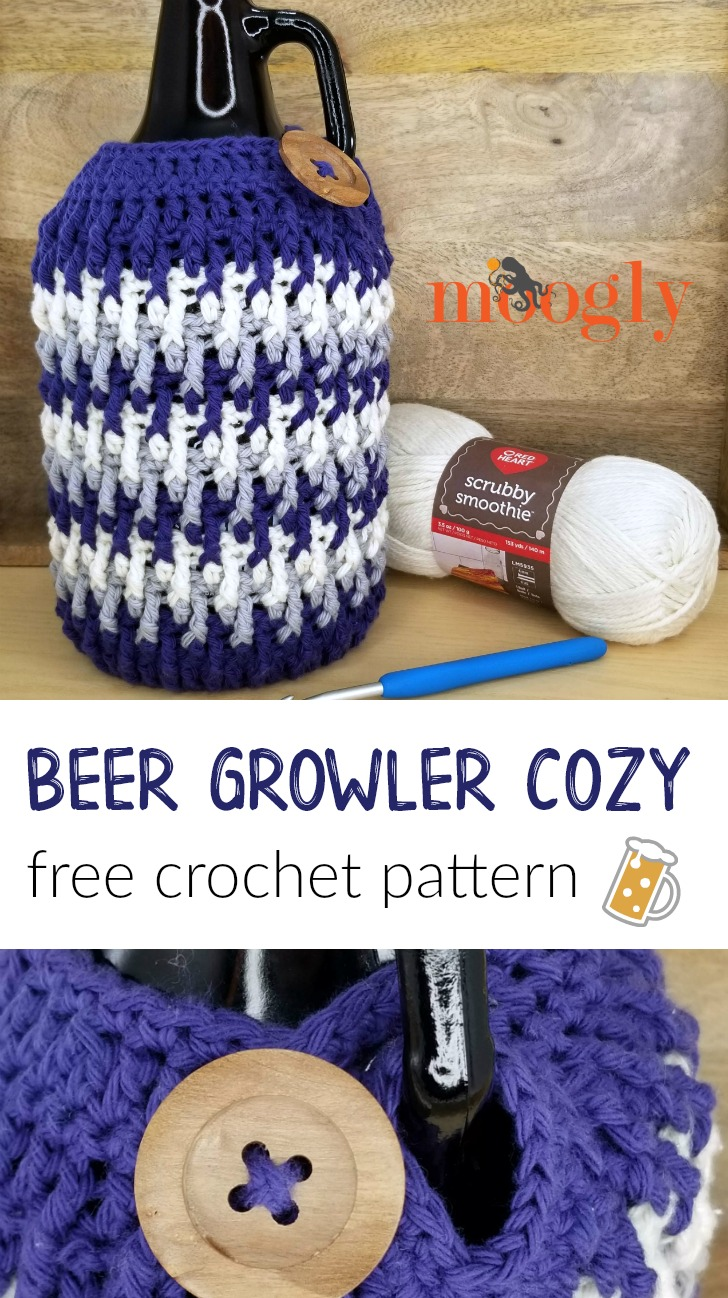 Beer Growler Cozy - get the free crochet pattern on Mooglyblog.com