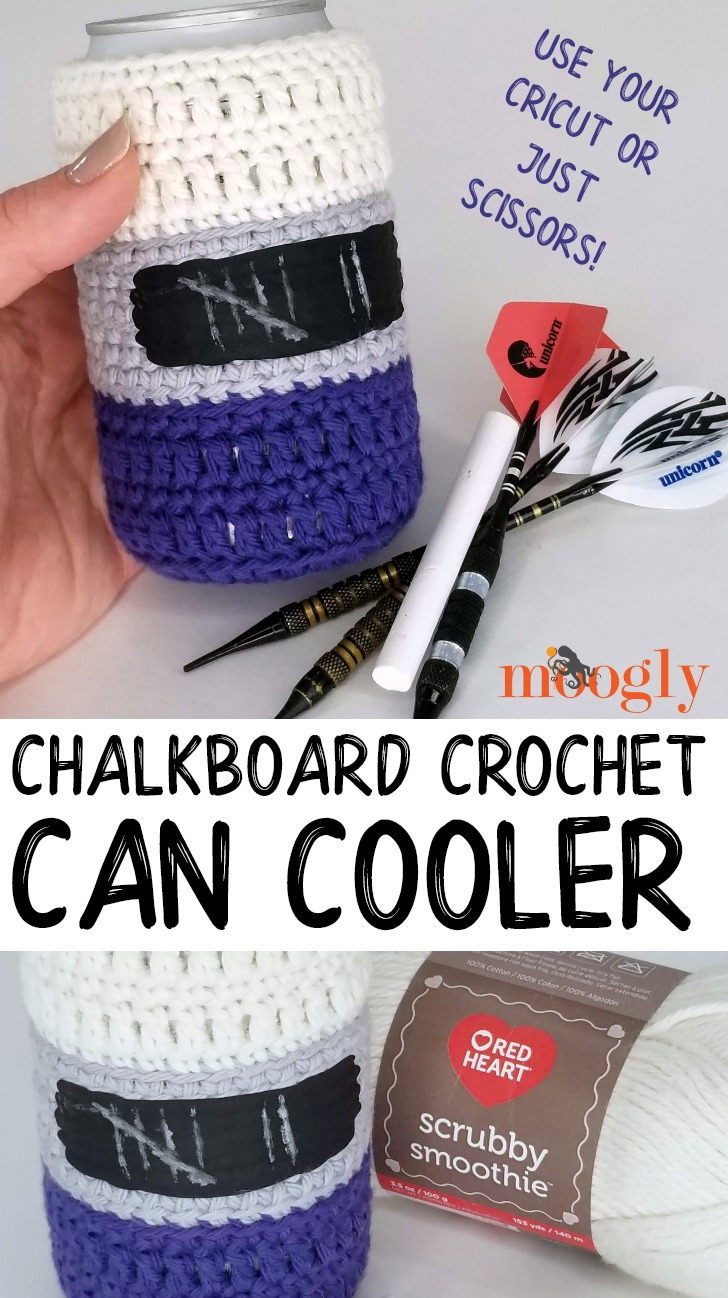 Chalkboard Crochet Can Cooler - free pattern and tutorial on Moogly!