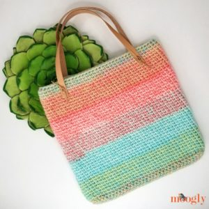 Sherbet Stripes Tote - free one skein crochet pattern on Mooglyblog.com