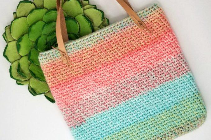 Sherbet Stripes Tote - free one skein crochet pattern on Mooglyblog.com