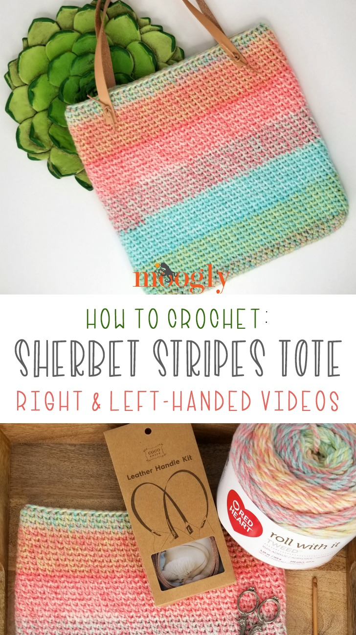 Sherbet Stripes Tote Tutorial - all you need to make this pattern is on Mooglyblog.com - and it's all free!