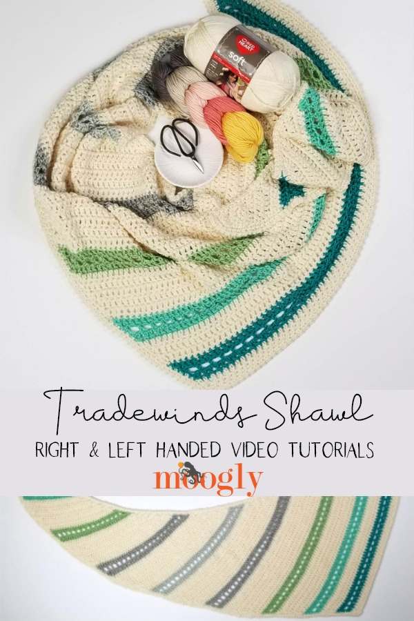 Tradewinds Shawl Tutorial - learn how to crochet this free pattern on Moogly!