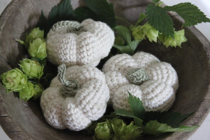 a white crochet pumpkin