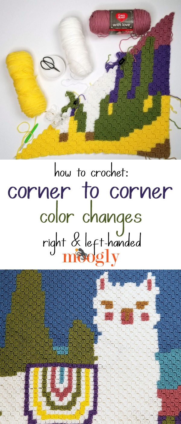 How to crochet Corner to Corner Color Changes on Moogly