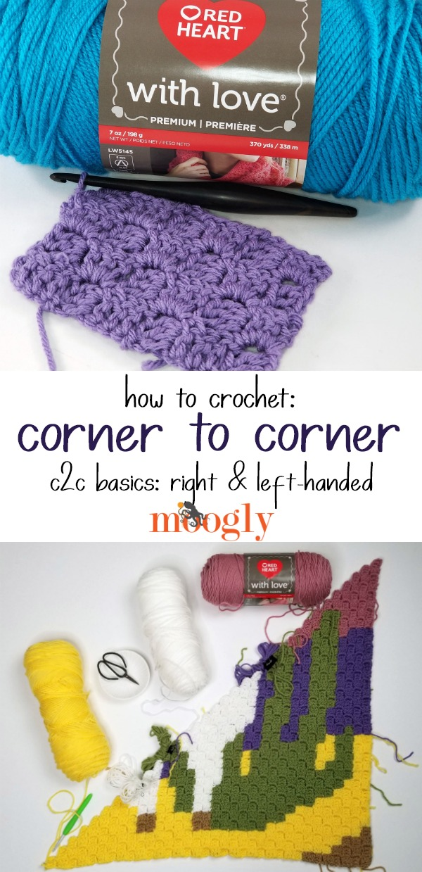 How to Corner to Corner Crochet C2C on Moogly