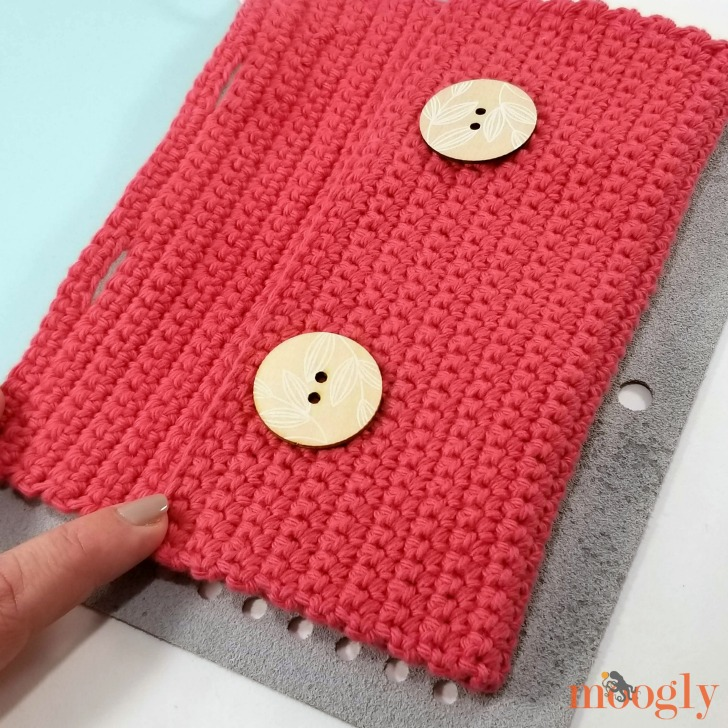 DIY Leather Notepad with Crochet Pouch - fold the pouch to match the holes