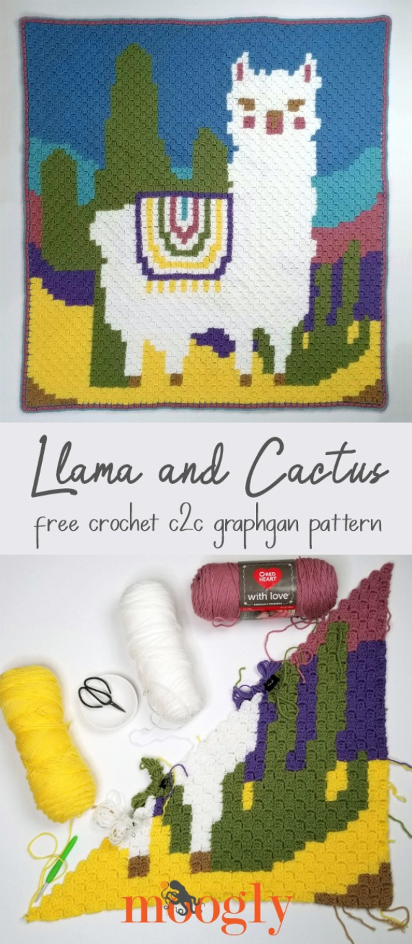 Llama and Cactus C2C Graphgan - get the free crochet pattern on Moogly