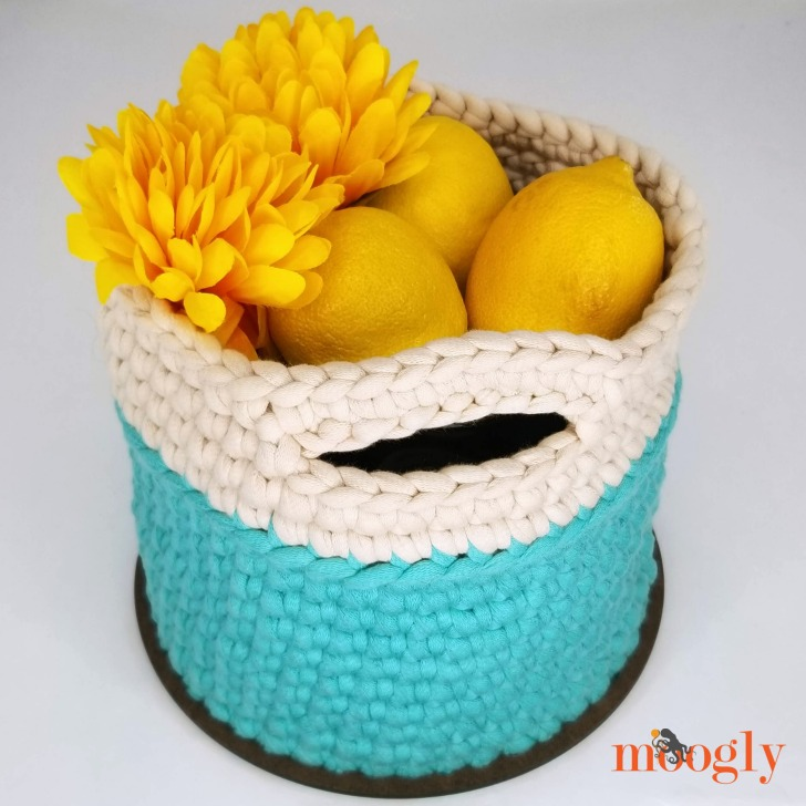 Super Sturdy Crochet Basket with Handles - Free Crochet Pattern on Moogly!