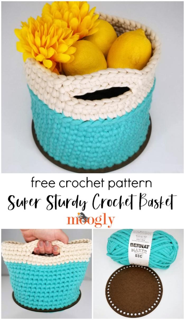 Super Sturdy Crochet Basket with Handles - free crochet pattern on Moogly