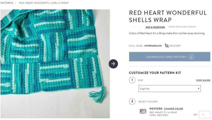 Red Heart Wonderful Shells Wrap