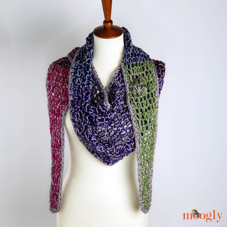 Chic Halftime Shawl - wrapped, free pattern on Moogly