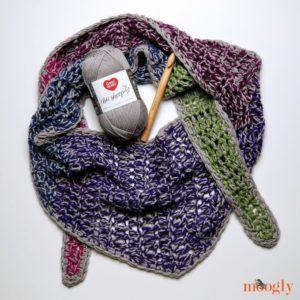 Chic Halftime Shawl - with yarn, free pattern on Moogly