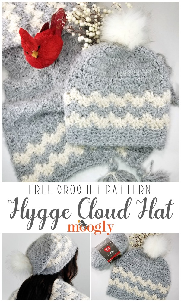 The Hygge Cloud Hat is the perfect complement to the Hygge Cloud Super Scarf! Soft, warm, easy to crochet, and a free crochet hat pattern on Moogly! Make your own with Red Heart Hygge! #crochet #yarnspirations #freepatterns #freecrochetpatterns #hygge #redheartyarns #redhearthygge #mooglyblog #crochethats #crochetsets #crochetgiftideas