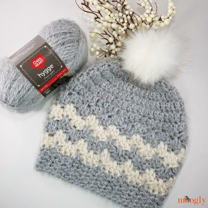 Hygge Cloud Hat, made with Red Heart Hygge