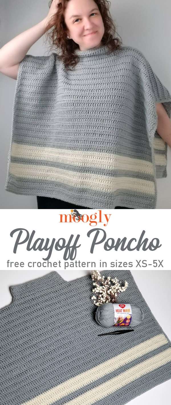 Playoff Poncho - Get the free crochet pattern on Mooglyblog.com!
