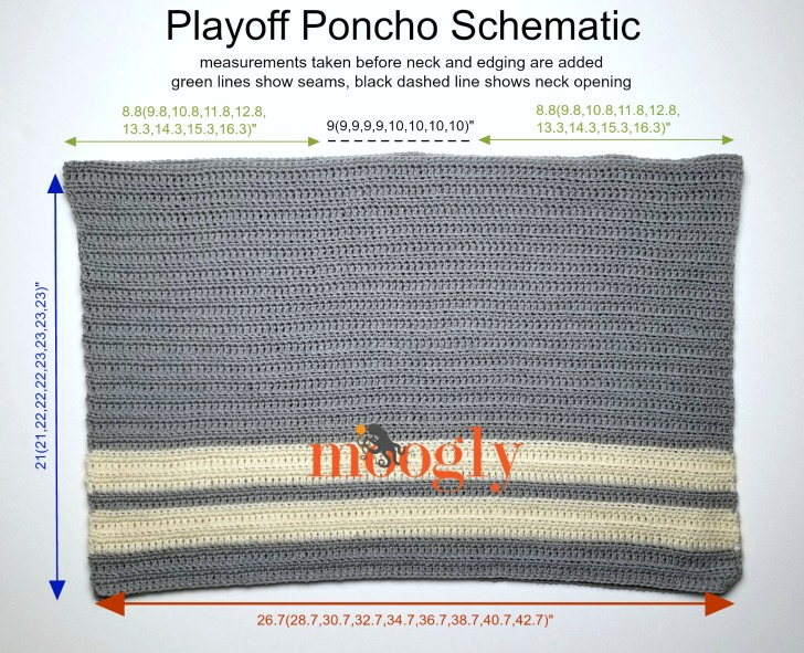 Playoff Poncho - schematic and free pattern on Moogly