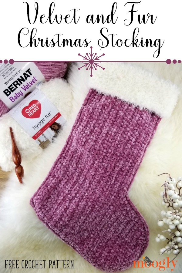 Velvet and Fur Christmas Stocking - get this lovely and luxe free holiday crochet pattern on Moogly!