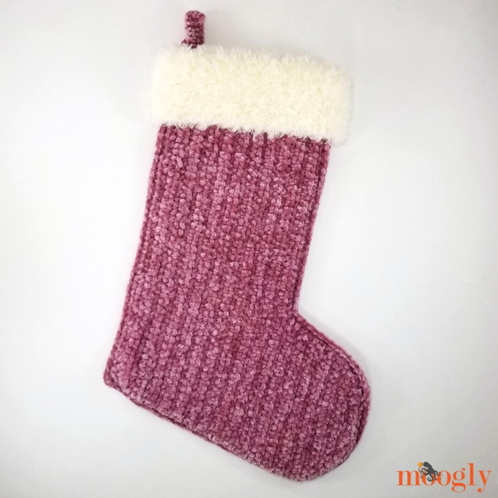 Velvet and Fur Christmas Stocking - get the free crochet pattern on Moogly!