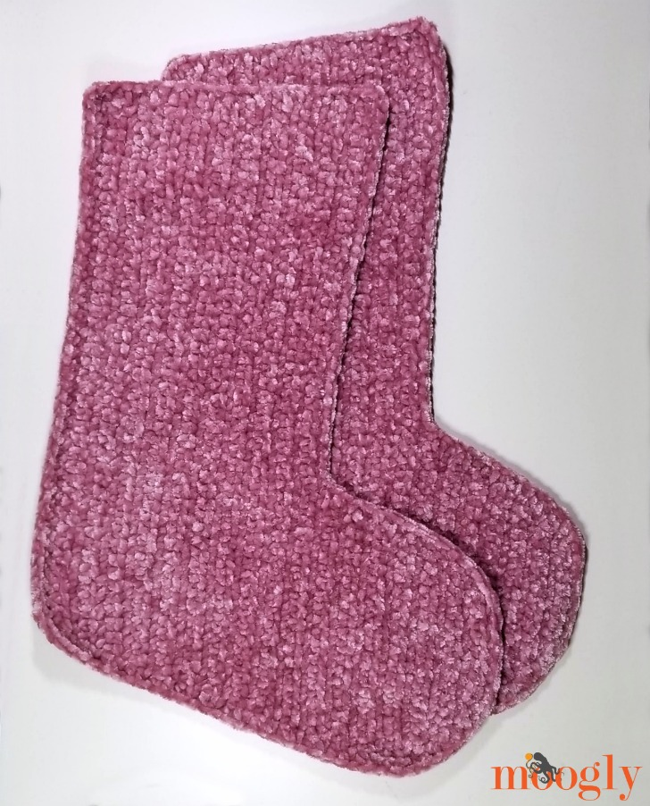 Velvet and Fur Christmas Stocking - make 2 - free pattern on Moogly!