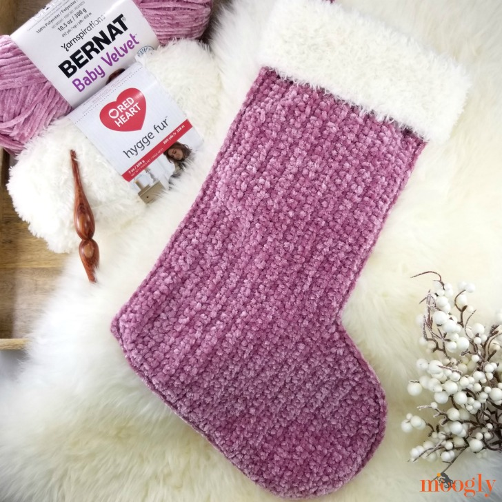 Velvet and Fur Christmas Stocking - free crochet pattern on Moogly