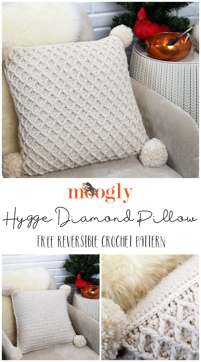 Hygge Diamond Pillow - get the free reversible crochet pattern on Moogly! So much texture in this gorgeous freebie!