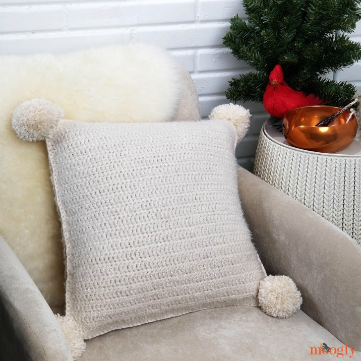 Hygge Diamond Pillow - furry side - free pattern on Moogly!